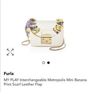 FURLA Interchangeable Mini Scarf Leather Flap